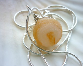 Sea Glass Necklace - Beach Marble Seaglass Creamsicle Orange