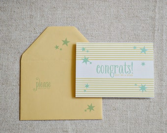 Congrats You're a Star Flat Printed Greeting Card