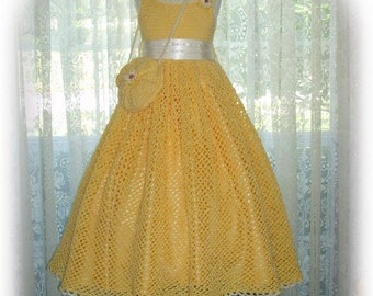 Summer - Debbie's Sunshine Daisies children crochet dress Digital e Pattern (girl size 8, 10, 12, 14) 003P-LG