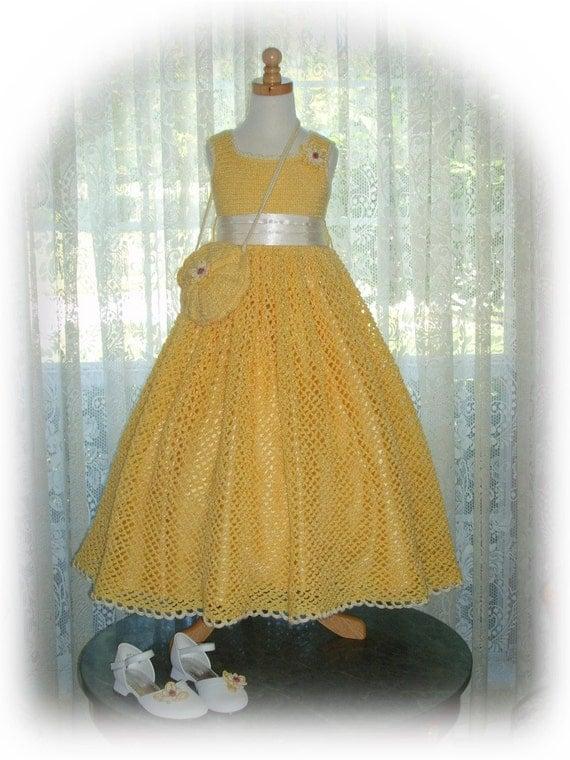 Summer - Debbie's Sunshine Daisies children crochet dress Digital e Pattern (girl size 8, 10, 12, 14) 003P-LG