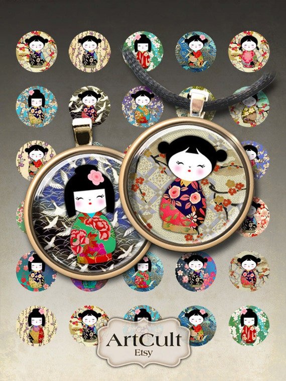 1 inch (25mm) and 1.5 inch WASHI YUZEN DOLLS japanese kokeshi images Digital Collage Sheet Circles printable download for pendants magnets