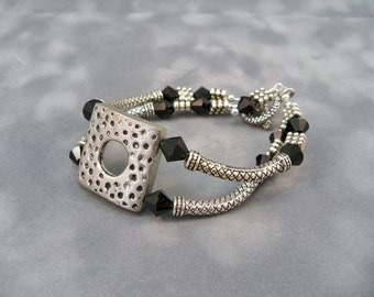 Double Strand Bracelet, Silver and Black Bracelet, Curved Tube Bracelet, High Fashion Jewelry