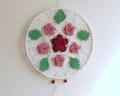 crochet suncatcher ring of roses, crochet wall art,  rose quartz home decor
