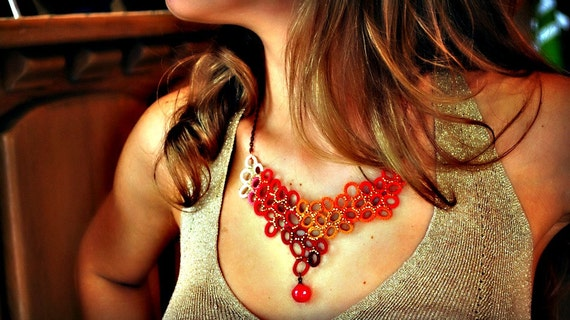 Fiber Jewelry - Red and Gold - Bib Necklace - 24k Gold Plated Beads - One of a Kind - Cluster - Lace