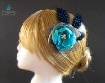 Turquoise head piece bridesmaid wedding head piece multicolored head piece flower girl grey hair flower turquoise accessories cyan blue
