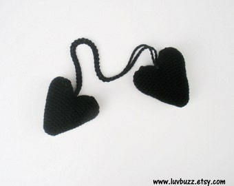 SALE Plush Crochet Black Hanging Valentine Heart Stuffies, ready to ship.