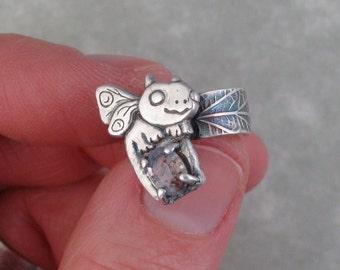 Ear cuff fairy dragon fine silver with a white sapphire DTPD PMC
