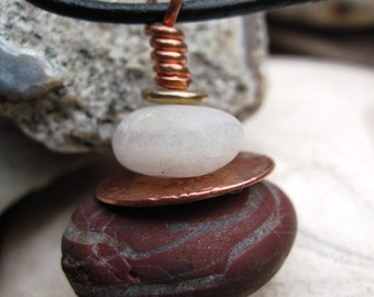 Oregon beach rock cairn- red jasper and white stacked rock pendant