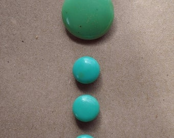 Vintage Jadeite Glass Button Collection  - Delicious Color - Green Glass Buttons - Pistachio Green -