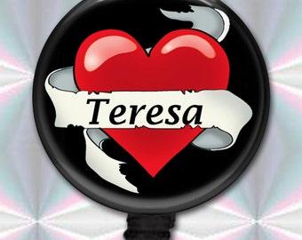 Heart ID Badge Holder Retractable Reel