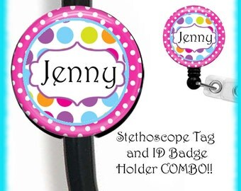 Nurse Personalized Combo Stethoscope ID Name Tag And ID Badge Holder Reel Customizable Doctor Respiratory