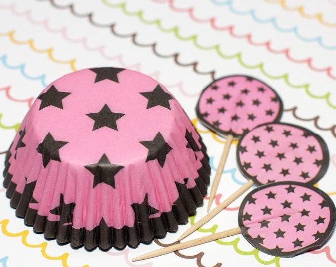 Pink/Dark Brown Stars Cupcake Set