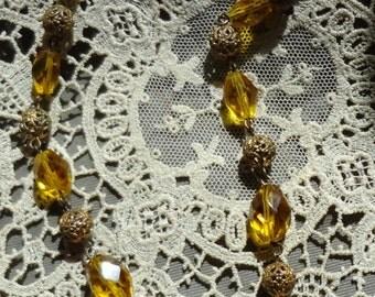 Summer Sale--Vintage Art Nouveau Necklace--Yellow Crystals