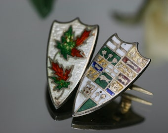 Sterling and Enamel Shield Pin - vintage