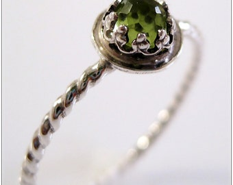 Silver Stacking Ring Peridot Sterling