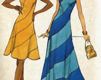 Vintage 70s Vogue 8338 Misses Swirl Dress Sewing Pattern - Size 12 Bust 34