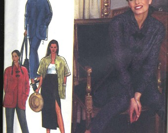 Vintage Style 2369 UNCUT Misses Asian Style Jacket, High Waisted Straight Skirt and Ankle Length Pants Sewing Pattern Size 6-16 Bust 30.5-38