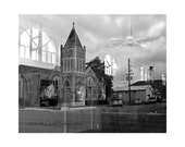 A Reflected World No. 2 Black and white Fine Art Photography Small town landscape Art Reflected Historic Church Surreal Landscape Storied