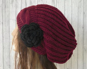 Slouchy Hat  Burgundy  Hat Winter Hat  Knit Hat by Ebruk  Womens hat  Beanie  With  Flower  Winter Accessories Women Fashion  Gift for Her