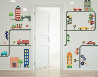 Cars, Trucks, Busy Transportation Town Wall Decals & Straight and Curved Road Decals, Removable Reusable Matte Fabric Wall Decal Stickers