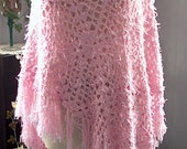 Shabby Chic Crochet Poncho Pink Beach Cover Fringe Long Tall