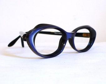 Wild Blue Cat Eye Glasses / NOS Frame France Eyeglasses / Vintage Women's Catseyes Sunglasses sale