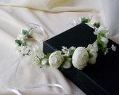 Bridal Flower Crown Wedding Accessories Flower girl halo Ready TO Ship silk floral Hair Wreath cottage headpiece Ivory White ranunculus