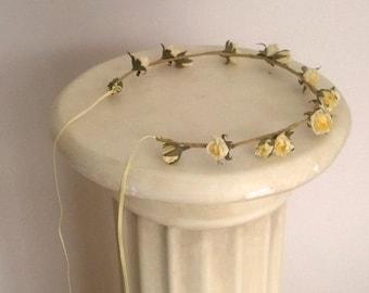 Yellow wedding hair accessories Country Bride Headwreath -Veronica- vintage mini rose fairy Flower crown bridal wreath flower girl halo