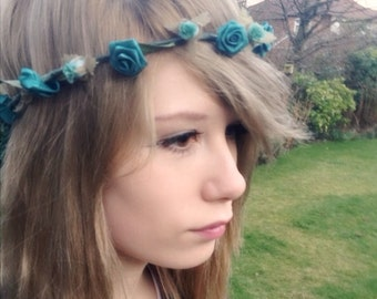 Floral hair wreath Teal accesories flower crown brides maid headband halo -Evie- music festivals rustic Wedding Bridal party