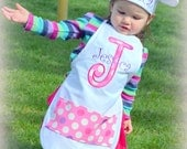 Personalized Child's Apron and Chef Hat Set - Choose Your Colors and Fabrics