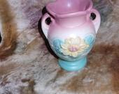 SALE Made in USA Vintage Rose Pink/ Aqua 50's Pottery/Ceramic Floral Flower Vase