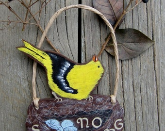 No Soliciting Sign Finch Bird - Hand Painted Wood