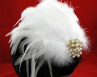 White Wedding Kentucky Derby Fascinator -  Feathers and Pearls