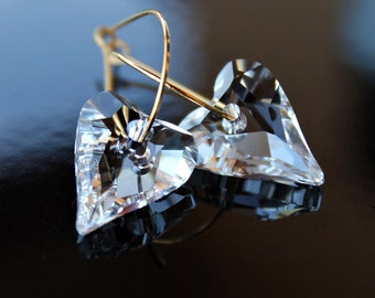 Swarovski Crystal Wild Heart Hoop Earrings in Gold