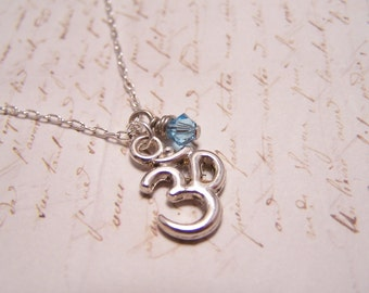 Om with Blue Crystal Necklace... Simple... Minimalist... Understated... Peaceful... Serene