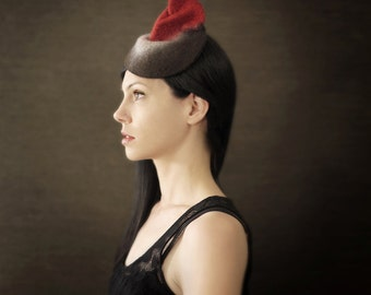 Black Grey and Red Felt Fascinator with Porupine Quill Accents - Arthropod Series - Made to Order