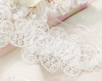 White  Rosette Soutache Trim for Shabby Headbands, Weddings, Scrapbooking, Mixed Media, Fiber Art