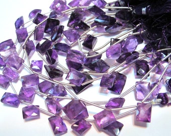 Amethyst purple faceted gemstone full strand corner drilled rectangles
