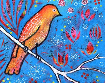 "Small Whimsical Blue Bird Print 8"" x 8"", Bird Wall Art titled Dreaming in Blue Magic by Lindy Gaskill"