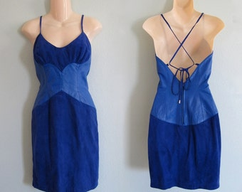 CLEARANCE Vintage 1980s Dress - Sexy Michael Hoban for North Beach Electric Blue Leather and Suede Dress - 80s Video Vixen Dress S