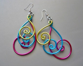 BOLD Peacock Blue Pink Magenta Purple Gold Aluminum Thick Wire Long Earrings