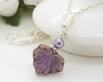 Light purple necklace, Czech glass purple leaf necklace, sterling silver maple leaf pendant, Lavender purple jewelry
