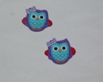 "Owl  Felt Clippies ""Purple Berries""    ---READY TO SHIP---"
