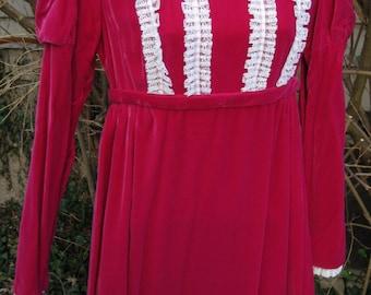 XS Christmas dress Cherry RED Victorian Renaissance, Colonial style gown, Jane Austen VELVET party dress gown, ladies petite dress gown