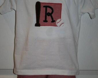 Boys Monogrammed Baseball short set Size 12mo to 5