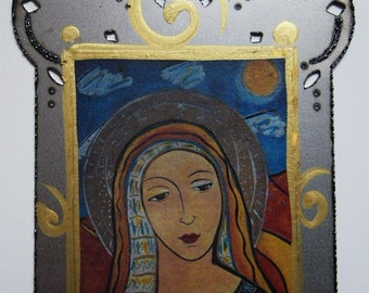 Mary Magdalen, Magdalena, Mary of Magdala or Saint Mary Magdalen Small steel collage Icon, Christina Miller artist
