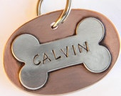 Copper Pet ID Tag With Sterling Silver Bone, Small or Large Pet Tag - Pet ID Tags - Dog Tag - Dog Name Tag