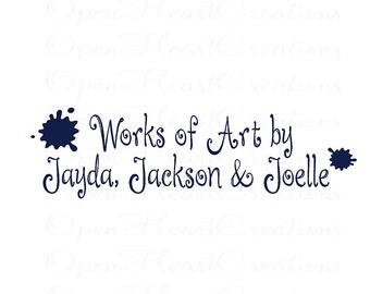 Kids Art Wall Vinyl Wall Decal - Works of Art with Personalized Childrens Names - Playroom Art Display 10H X 36W Ba0363