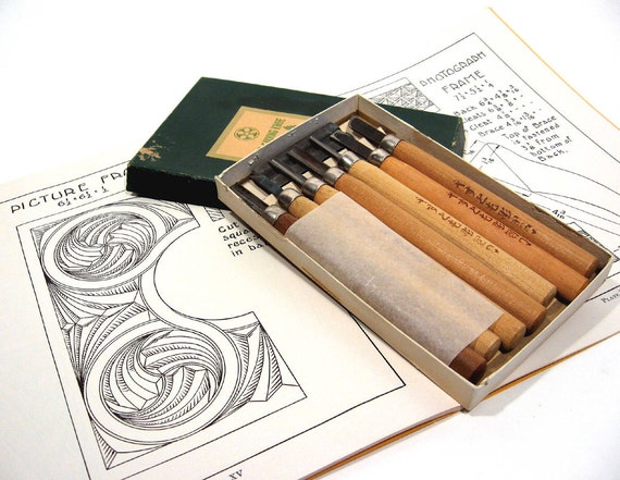 Wood carving knife set chip pattern book craft tools
