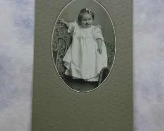 Pretty Angelic Little Girl - Ruffled White Dress - Bows - Lrg Antique Cabinet Photo